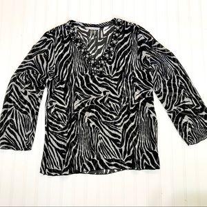 Peter Nygard Sheer Leopard Embellished Blouse, 12